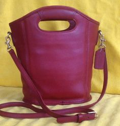 Round She Goes - Market Place - COACH Red Leather Mini Shopper Tote Cross Body #9993 Made in USA Almost Vintage