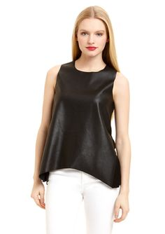 OLIVACEOUS Faux Leather Top
