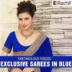 Shop Fantabulous Viscos Exclusive Sarees In Blue and get traditional indian look.  #shoponline #outfit #traditional #sarees #indiantradition