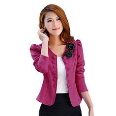 SunWard Womens Fashion Slim Long Coat Jacket Windbreaker Parka Outwear Cardigan Coat L Hot pink -- Want additional info? Click on the image. (Note:Amazon affiliate link)