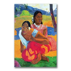 This ready to hang, gallery-wrapped art piece features two women. Paul Gauguin was a leading Post-Impressionist painter. His bold experimentation with coloring led directly to the Synthetist style of