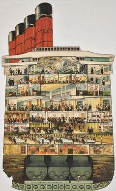 Le Corbusier - Aménagement de Paquebot Ile de France, 1936