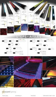 Everything for illumination and safety in the theater arts, conference, or entertainment industries! Theaters, cinemas, conference halls, auditoriums, arenas, or anywhere else with seating areas -where lights need to dim. LED linear or dot profiles for step/riser, aisle floor (to-wall or to floor), and even wall-mounted, floor-illuminating applications. Our sleek, black anodized profiles with anti-slip polymer will ensure the audience can safely and easily navigate the venue as needed.