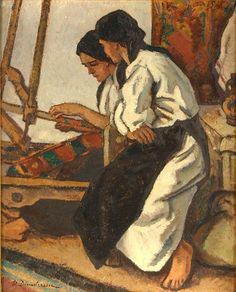 Dimitrescu, Stefan, (1886-1933), Femei tesand la razboi, Oil