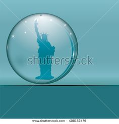 crystal ball marble statue of liberty USA logo design isolated art illustration blue background vector - stock vector