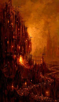 Um reino desolado. Uma fortaleza e um templo da fé. Exércitos em marcha. Uma guerra iminente.     -- Arte por Philip Straub.