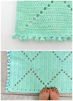 Free Crochet Pattern: Crochet Cotton Aztec/ Tribal Design Rug in Mint by Grow Creative Blog