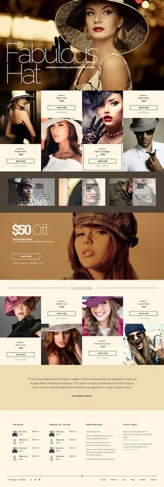 Web Design / fashion, hat, ecommerce, brown, concept, layout, website