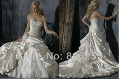 Ready for Sale Free Shipping 2013 Popular White/Ivory Lace Taffeta Material Ball Gown Luxury Wedding Dresses/Gowns WD0345 $99.00