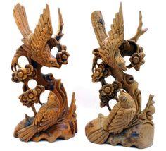 Vintage Carved Teak Bird Bookends  People's by TheAthenaeum,