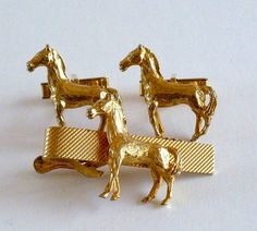 Horse CuffLinks and Tie Bar Set Equestrian by MaisonChantalMichael