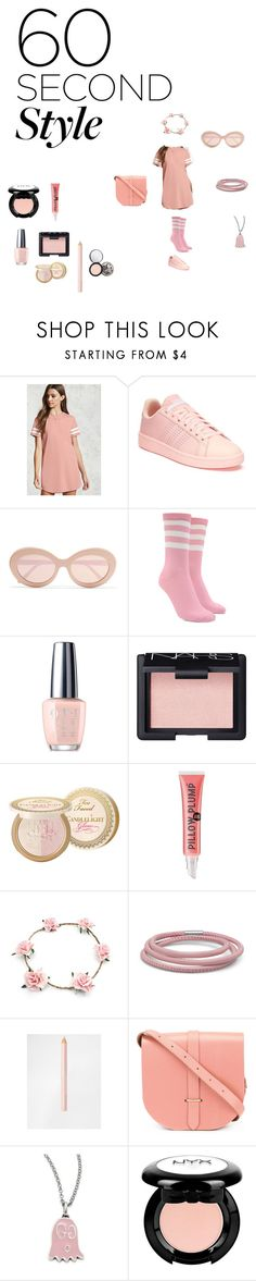 """""""t shirt dress"""" by effyswanhaze ❤ liked on Polyvore featuring Forever 21, adidas, Sunday Somewhere, OPI, NARS Cosmetics, Too Faced Cosmetics, Soap & Glory, Elora, Bourjois and The Cambridge Satchel Company"""