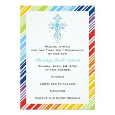 "First Holy Communion blue cross and colorful striped border 5"" X 7"" Invitation Card"