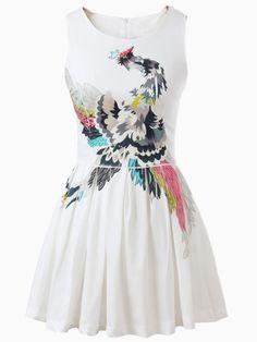 Beaded Phoenix Pouf Dress With Pleat | Choies