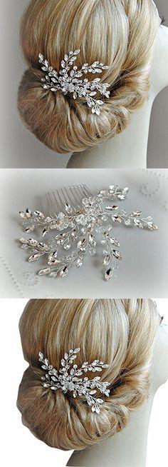 Missgrace Women's Wedding Hair Combs - Bridal Hair Accessories Head Piece Vintage Wedding Pearls Crystal Hair Combs (silver)