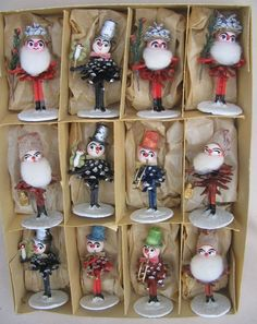 Rare+Vintage+12+Pc+Set+German+Pine+Cone+Elves+Gnomes+Christmas+Ornaments+Germany+