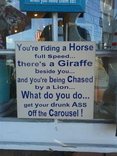 Watch out for those horses and giraffes.