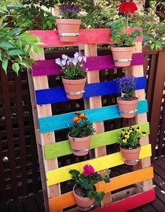 DIY Upcycled Rainbow Pallet Flower Garden Planter