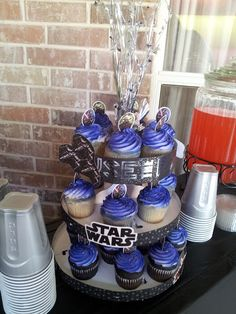 DIY STAR WARS cupcake holder with a plain cardboard cupcake holder from Joanns and scrapbook paper