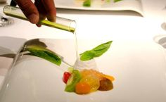 Summer tomato salad, basil, several varieties of tomatoes, blanched and sized, with whipped white mousse and tomato gelee and basil oil