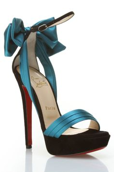 Louboutin Vampanodo Sandals In Black & Turquoise.