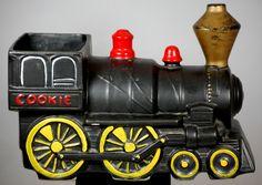 Vintage Mccoy Black Train Engine Cookie Jar - Vintage Items for Sale - The Vintage Village Mccoy Pottery, Pottery Art, Pottery Ideas, Antique Cookie Jars, Train Engines, Ceramic Figures, Vintage Cookies, Vintage Holiday, Vintage Glassware