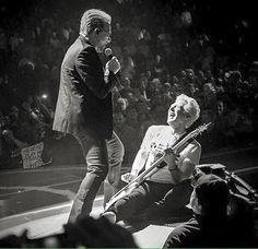 Bono and Adam I&E tour photographer unknown U2 Songs, Larry Mullen Jr, Bono U2, Adam Clayton, Soundtrack To My Life, Living Legends, Good Company, My Happy Place, I Fall In Love