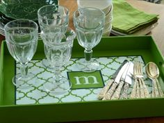 Surprise your favorite hostess-with-the-mostest with a chic serving tray hand-painted with a trendy trellis pattern and the recipient's monogram. Get step-by-step instructions.