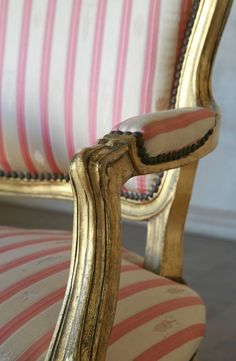 pink & white stripes with gold and add small rollers for desk chair Pink And White Stripes, Pink And Gold, Gold Stripes, Vintage Furniture, Painted Furniture, Furniture Refinishing, Salvaged Furniture, Deco Furniture, Nursery Furniture