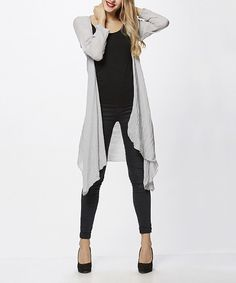 Look at this Simply Couture Gray Open Cardigan on #zulily today!