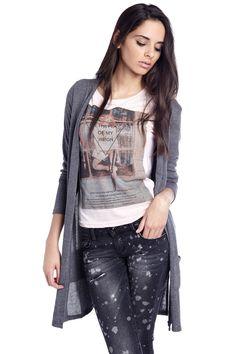 Cardigan largo gris de punto con bolsillos - 19,90 € - q2.com.es