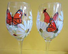 2 papillon et Marguerite verres à vin