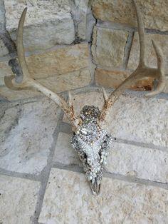 Rhinestone deer skull with antlers hand set with by RitzyGypzy Deer Skull Decor, Deer Head Decor, Cow Skull Art, Deer Skulls, Animal Skulls, Deer Art, Skull Crafts, Antler Crafts, Antler Art