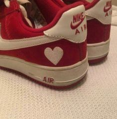 aesthetic photography custom nike air force ones red heart love white shoes sneakers creative inspiration goals Dr Shoes, Sock Shoes, Cute Shoes, Me Too Shoes, Baby Shoes, Shoes Sneakers, Funky Shoes, Roshe Shoes, Nike Roshe