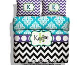 Chevron Bedding - Chevron and Damask - Purple and Turquoise and Lime bedroom -  Personalize with Name or Monogram - Pick Your Color and Size - pinned by pin4etsy.com