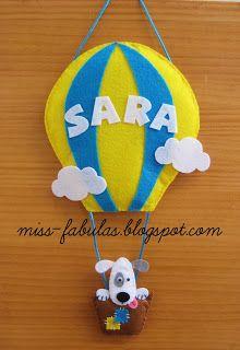Baby name felt air balloon with dog - Nombre bebe globo aerostático con perrito… Felt Name Banner, Name Banners, Air Balloon, Balloons, Felt Crafts Dolls, Mobiles, Felt Wreath, Felt Embroidery, Felt Brooch