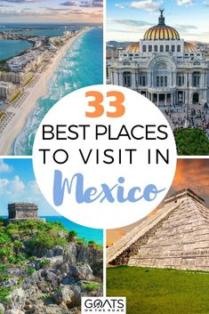 Travelling to the beautiful tropics of Mexico? It's surrounded with natural beauty. Discover these 33 best places to visit in Mexico including the cenotes, white sand beaches, ancient ruins, and more! In this guide, we will make sure you miss nothing during your visit! | #travelguide #beautifuldestinations #bestofMexico Surfing Destinations, Mexico Destinations, Amazing Destinations, Best Places To Travel, Cool Places To Visit, Mexico Travel, Mexico Vacation, Ancient Ruins, Wanderlust Travel