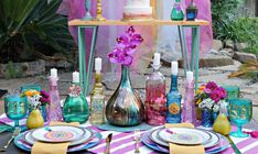 How to DIY a Bohemian Gypsy Themed Party with a Cricut, - Bohemian Home Gypsy Gypsy Party, Hippie Party, Bohemian Party Decorations, Hanging Pom Poms, Green Cups, Glitter Vinyl, Romantic Dinners, Bohemian Gypsy, Colorful Flowers