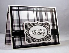 like the mix of plaid and patterns in this black and white card...