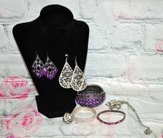 Mixed Vintage Style Costume Jewelry Lot 7 Pc Pendant Bracelets Earrings Purple