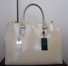 NEW RALPH LAUREN WINFORD SP DOUBLE ZIP LEATHER SATCHEL-IVORY-$348 R-HANDBAG-TOTE #RalphLauren #TotesShoppers