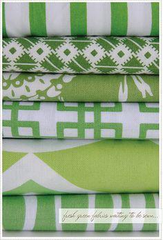 green floral fabrics