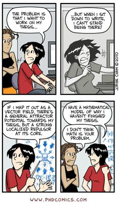 Check out the comic Best of PHD Comics :: Repulsive Work | Best of PHD: Graduation Dynamics