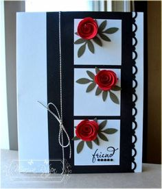 WRM - Retro Sketch Meets CAS-ual Fridays by whiterockmama - Cards and Paper Crafts at Splitcoaststampers Flower Cards, Paper Flowers, Silk Flowers, Quilling Cards, Quilling Comb, Neli Quilling, Quilled Roses, Diy Cards, Craft Cards