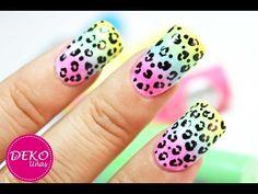 Acid Leopard Nail Art Tutorial - Decoracion de uñas animal print leopardo neon - YouTube