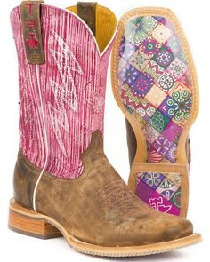 140b56a0693f Tin Haul Women s Light   Bright Mosaic Sole Cowgirl Boots - Square Toe