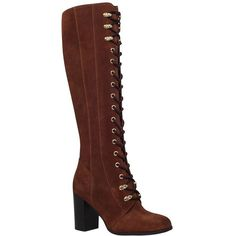 Carvela Wander Lace Front Block Heeled Over The Knee Boots , Rust... ($215) ❤ liked on Polyvore featuring shoes, boots, bota, rust suede, faux suede boots, over the knee high heel boots, flat thigh high boots, thigh-high boots and knee high heel boots