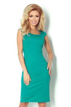 53-13 Dopasowana sukienka - zielony #modadamska #sukienkikoktajlowe #sukienkiletnie #sukienka #suknia #sukienkiwieczorowe #sukienkinawesele #allettante.pl