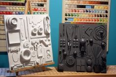 """junk drawer art--table decor for """"Beautiful Mess/Artist's Daughter theme."""" Paint with the color for each table."""