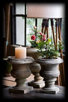 Beautiful 19th century hand carved French capana-shaped marble urns. The French urns have a high waisted body with a bulbous lower half. English urns were more attenuated and less rustic. These urns look lovely with small flowers or pillar candles. We have also electrified them as table lamps. Uniquities currently has 4 available.